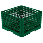 Vollrath PM2110-5 Traex® Plate Crate Green 21 Compartment Plate Rack - Holds 9 3/16 inch to 10 inch Plates
