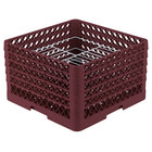 Vollrath PM2110-5 Traex® Plate Crate Burgundy 21 Compartment Plate Rack - Holds 9 3/16 inch to 10 inch Plates