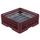 Vollrath PM4806-2 Traex Plate Crate Burgundy 48 Compartment Plate Rack - Holds 5 inch to 6 inch Plates