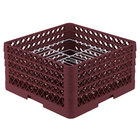 Vollrath PM2110-4 Traex® Plate Crate Burgundy 21 Compartment Plate Rack - Holds 8 3/4 inch to 9 3/16 inch Plates