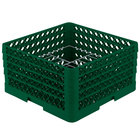 Vollrath PM1510-4 Traex® Plate Crate Green 15 Compartment Plate Rack - Holds 8 3/4 inch to 9 3/16 inch Plates