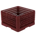 Vollrath PM1211-5 Traex® Plate Crate Burgundy 12 Compartment Plate Rack - Holds 9 3/16 inch to 10 3/4 inch Plates