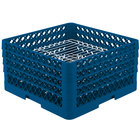 Vollrath PM3208-4 Traex® Plate Crate Royal Blue 32 Compartment Plate Rack - Holds 7 5/8 inch to 8 inch Plates