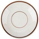 6 inch Brown Speckle Narrow Rim China Saucer - 36/Case