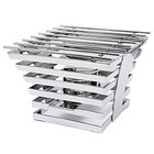 """Eastern Tabletop 1710 Escalate Series 10"""" x 10"""" x 6 1/2"""" Stainless Steel Six Rung Riser with Cooking Grate and Sterno"""