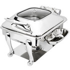 Eastern Tabletop 3964GS Crown 4 Qt. Stainless Steel Square Induction / Traditional Chafer with Freedom Stand and Hinged Glass Dome Cover