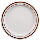 5 1/2 inch Brown Speckle Narrow Rim China Plate   - 36/Case