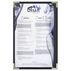 Menu Solutions RS33G BK SLV Royal 11 inch x 17 inch Single Panel / Two View Black Menu Board with Silver Corners