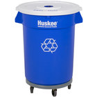 Continental 32 Gallon Blue Recycling Trash Can, Lid, and Dolly Kit
