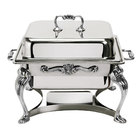 Eastern Tabletop 3202QA-SS Queen Anne 4 Qt. Stainless Steel Square Chafer with Lift-Off Lid