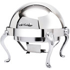 Eastern Tabletop 3118QA-SS Queen Anne 8 Qt. Stainless Steel with Brass Accents Hotel Grade Round Roll Top Chafer