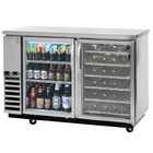 Beverage-Air DZ58G-1-S-PWD 58 inch Dual-Zone Glass Door Stainless Steel Back Bar Refrigerator with Wine Bottle Drawers - 1 Straight Keg Capacity