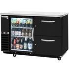 Beverage-Air DZ58G-1-B-PWD 58 inch Dual-Zone Glass Door Black Back Bar Refrigerator with Wine Bottle Drawers - 1 Straight Keg Capacity