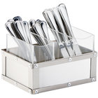 Cal-Mil 3408-55 Urban Stainless Steel Flatware Organizer - 8 1/4 inch x 5 1/4 inch x 6 inch