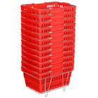 Red 19 inch x 13 inch Plastic Grocery Market Shopping Basket Set with Stand