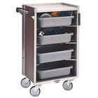 "Lakeside 890 Medium-Duty Stainless Steel Enclosed Bussing Cart with Ledge Rods and Walnut Finish - 27 3/8"" x 17 5/8"" x 42 7/8"""