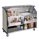 Lakeside 887 63 1/2 inch Stainless Steel Portable Bar with Beige Suede Laminate Finish, 2 Removable 7-Bottle Speed Rails, and 40 lb. Ice Bin