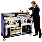 Lakeside 889 63 1/2 inch Stainless Steel Portable Bar with Purple Laminate Finish, 2 Removable 7-Bottle Speed Rails, and 70 lb. Ice Bin