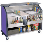 Lakeside 886 63 1/2 inch Stainless Steel Portable Bar with Purple Laminate Finish, 2 Removable 7-Bottle Speed Rails, and 2 40 lb. Ice Bins
