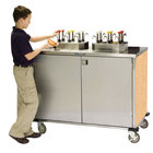 Lakeside 70270 Stainless Steel EZ Serve 12 Pump Condiment Cart with Hard Rock Maple Finish - 27 1/2 inch x 50 1/4 inch x 47 inch