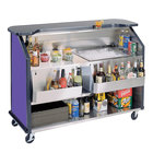 Lakeside 887 63 1/2 inch Stainless Steel Portable Bar with Purple Laminate Finish, 2 Removable 7-Bottle Speed Rails, and 40 lb. Ice Bin