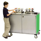 Lakeside 70220 Stainless Steel EZ Serve 4 Pump Condiment Cart with Green Finish - 27 1/2 inch x 33 inch x 47 inch