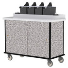 Lakeside 70510GS Gray Sand Condi-Express 4 Pump Condiment Cart with (2) Cup Dispensers