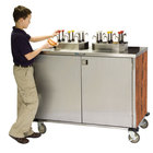Lakeside 70220 Stainless Steel EZ Serve 4 Pump Condiment Cart with Victorian Cherry Finish - 27 1/2 inch x 33 inch x 47 inch