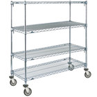 Metro A566EC Super Adjustable Chrome 4 Tier Mobile Shelving Unit with Polyurethane Casters - 24