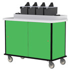 Lakeside 70410 Green Condi-Express 4 Pump Condiment Cart with (2) Cup Dispensers