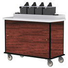 Lakeside 70510 Red Maple Condi-Express 4 Pump Condiment Cart with (2) Cup Dispensers