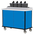 Lakeside 70510 Royal Blue Condi-Express 4 Pump Condiment Cart with (2) Cup Dispensers