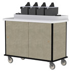 Lakeside 70510 Beige Suede Condi-Express 4 Pump Condiment Cart with (2) Cup Dispensers