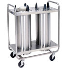 Lakeside 7200 Stainless Steel Open Base Non-Heated Two Stack Plate Dispenser for up to 5 inch Plates