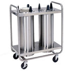 Lakeside 7207 Stainless Steel Open Base Non-Heated Two Stack Plate Dispenser for 6 5/8 inch to 7 1/4 inch Plates