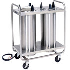 Lakeside 776 Open Base Stainless Steel Adjust-a-Fit Heated Two Stack Plate Dispenser for 4 1/4 inch to 7 1/2 inch Plates