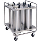 Lakeside 797 Open Base Stainless Steel Adjust-a-Fit Heated Four Stack Plate Dispenser for 6 1/2 inch to 9 3/4 inch Plates