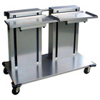 Lakeside 2814 Stainless Steel Double Platform Mobile Cantilever Tray Dispenser for 12 inch x 22 inch Trays
