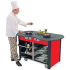 """Lakeside 3070 Creation Station Mobile Stainless Steel Induction Cooking Cart with Red Laminate Finish - 32"""" x 60"""" x 35 3/4"""""""