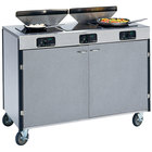 Lakeside 2085 Creation Express Mobile Stainless Steel Cooking Cart with 3 Induction Burners and 2 Filtration Units - 22 inch x 48 inch x 40 1/2 inch