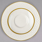 Homer Laughlin 1420-0328 Westminster Gothic Ivory (American White) 4 1/2 inch China Saucer - 36/Case