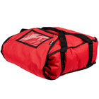 """San Jamar PB17 17"""" x 16 1/2"""" x 5"""" Insulated Red Nylon Pizza Delivery Bag"""