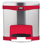 Rubbermaid 1901983 Slim Jim Stainless Steel Red Accent Front Step-On Trash Can with Single Rigid Plastic Liner - 16 Qt. / 4 Gallon