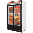 True GDM-43F-LD White Two Glass Door Merchandiser Freezer - 40.6 Cu. Ft.