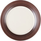 Elite Global Solutions D897GM Durango 9 inch Antique White & Chocolate Round Two-Tone Melamine Plate - 6/Case