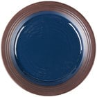 Elite Global Solutions D1098GM Durango 11 inch Lapis & Chocolate Round Two-Tone Melamine Plate - 6/Case