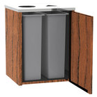 Lakeside 3412 Stainless Steel Refuse / Recycling Station with Top Access and Victorian Cherry Laminate Finish - 26 1/2 inch x 23 1/4 inch x 34 1/2 inch