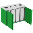 Lakeside 3418 Stainless Steel Refuse (2) / Recycle / Paper Station with Top Access and Green Laminate Finish - 48 1/2 inch x 23 1/4 inch x 34 1/2 inch