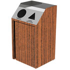 Lakeside 4412 Stainless Steel Refuse / Recycling Station with Front Access and Victorian Cherry Laminate Finish - 26 1/2 inch x 23 1/4 inch x 45 1/2 inch