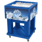 IRP Blue Mini Texas Icer 5015 Insulated Ice Bin / Merchandiser 32 Qt. with Dividers and Drain 23 1/4 inch x 23 1/4 inch